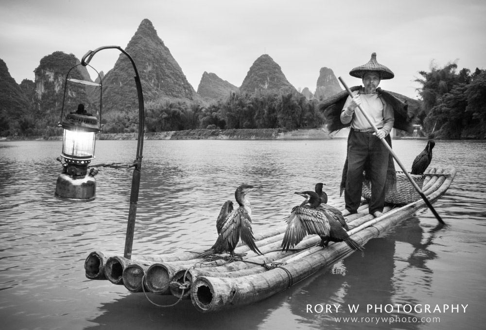 Cormorant Fisherman, Yangshuo, China Print