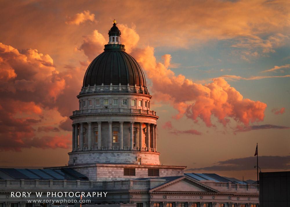 Utah State Capitol Building Sunset Print