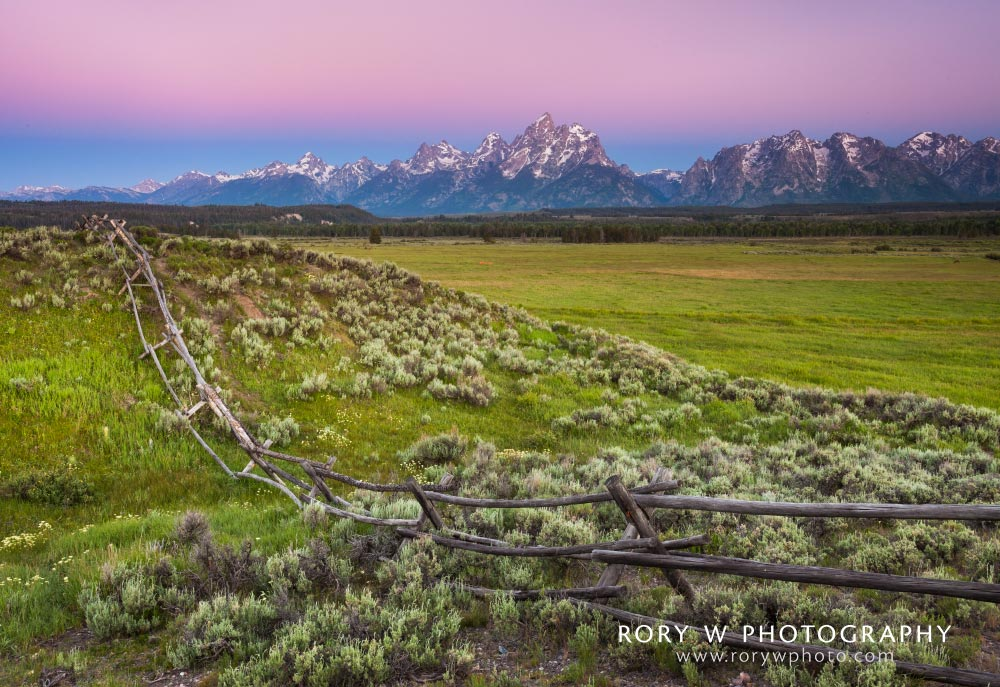 Sunrise at The Tetons Print