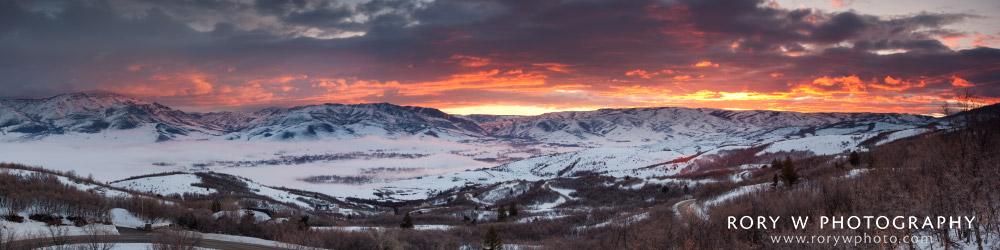 Winter Sunrise Over Ogden Valley in Fog Print